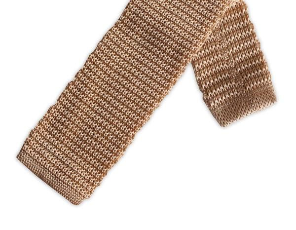 Champagne Knitted Silk Tie