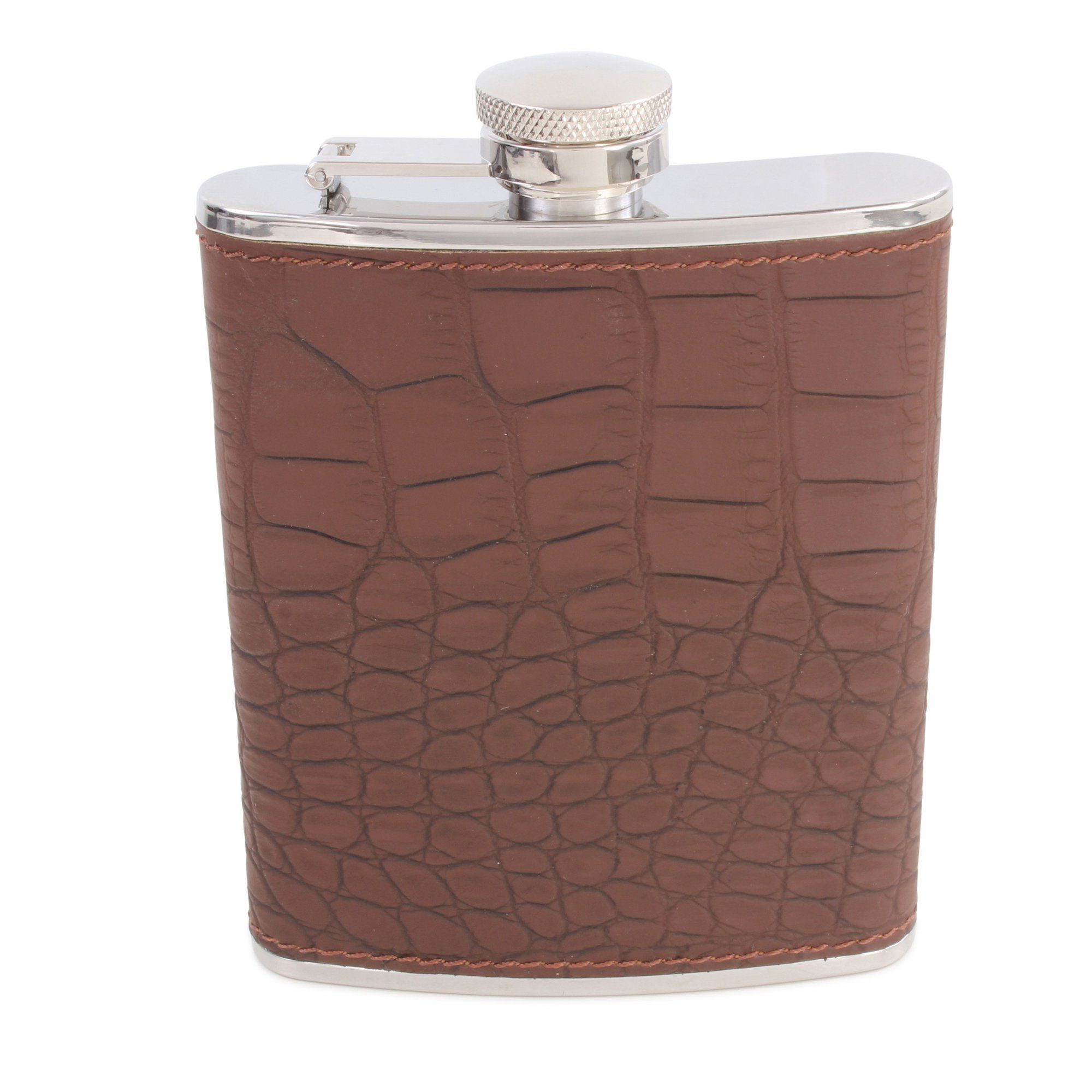 Brown Croc Leather Hip Flask