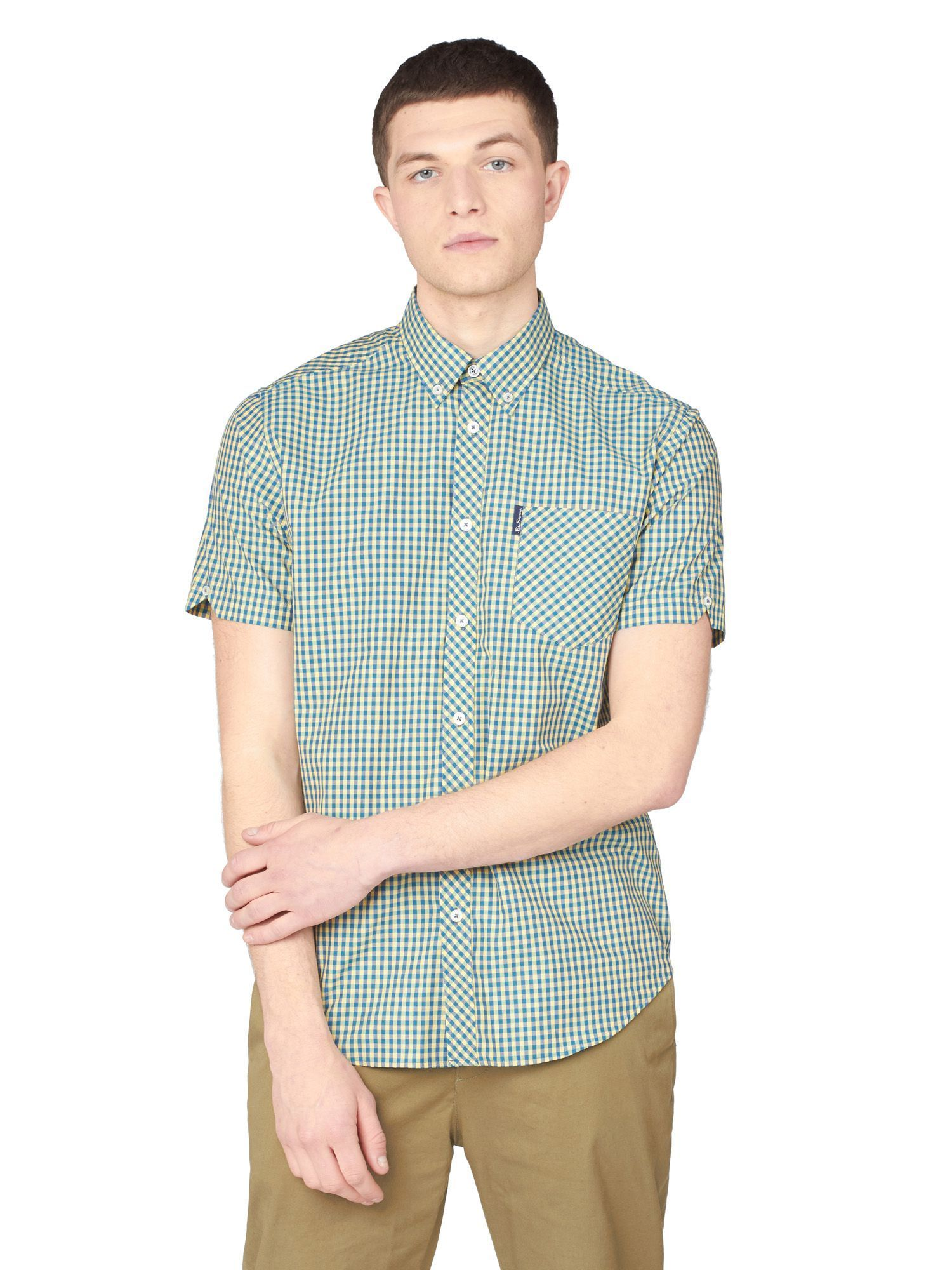 Green And Yellow Checked Short Sleeved Shirt 2XL