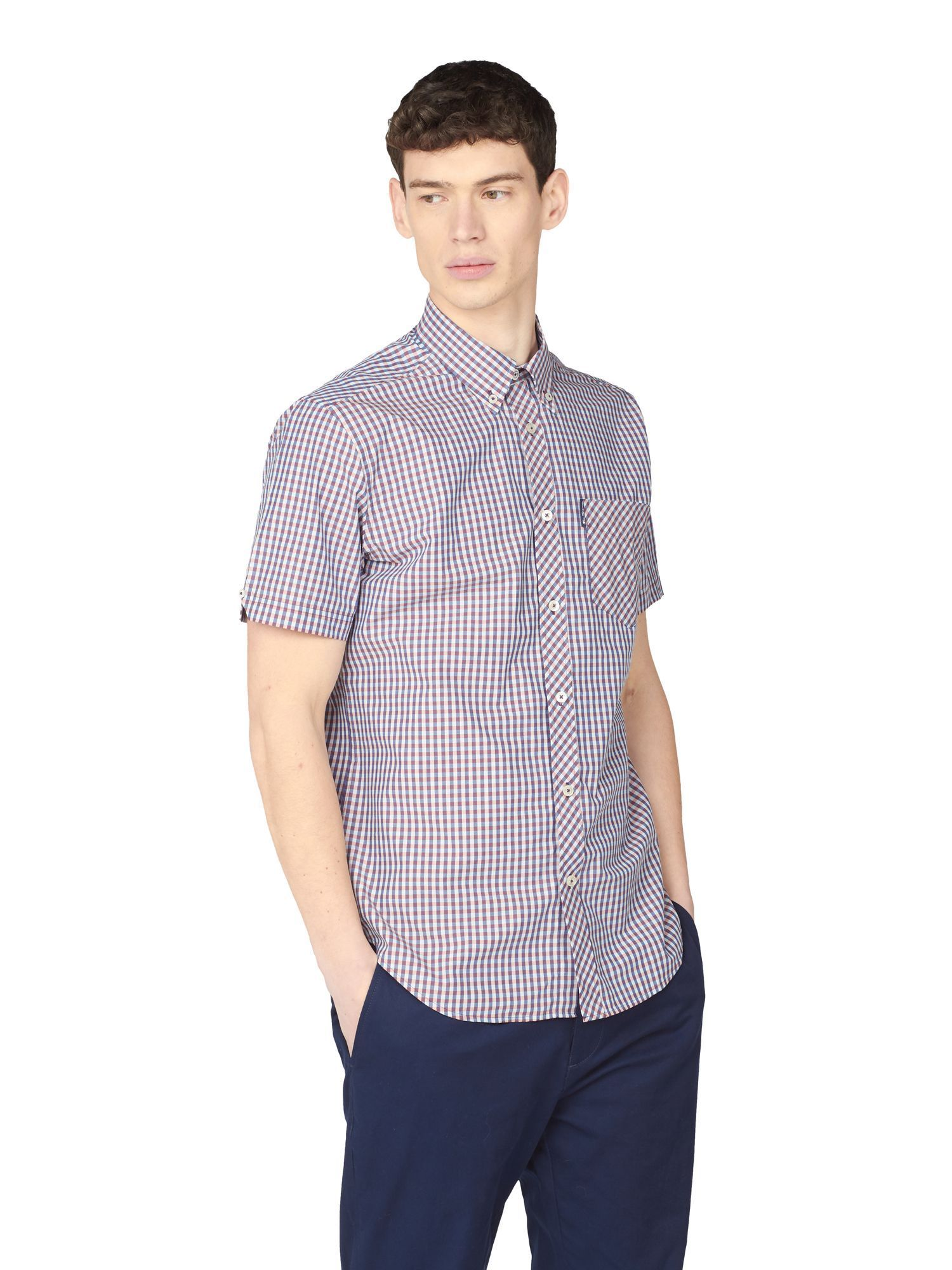 Blue And Pink Checked Short Sleeved Shirt 2XL