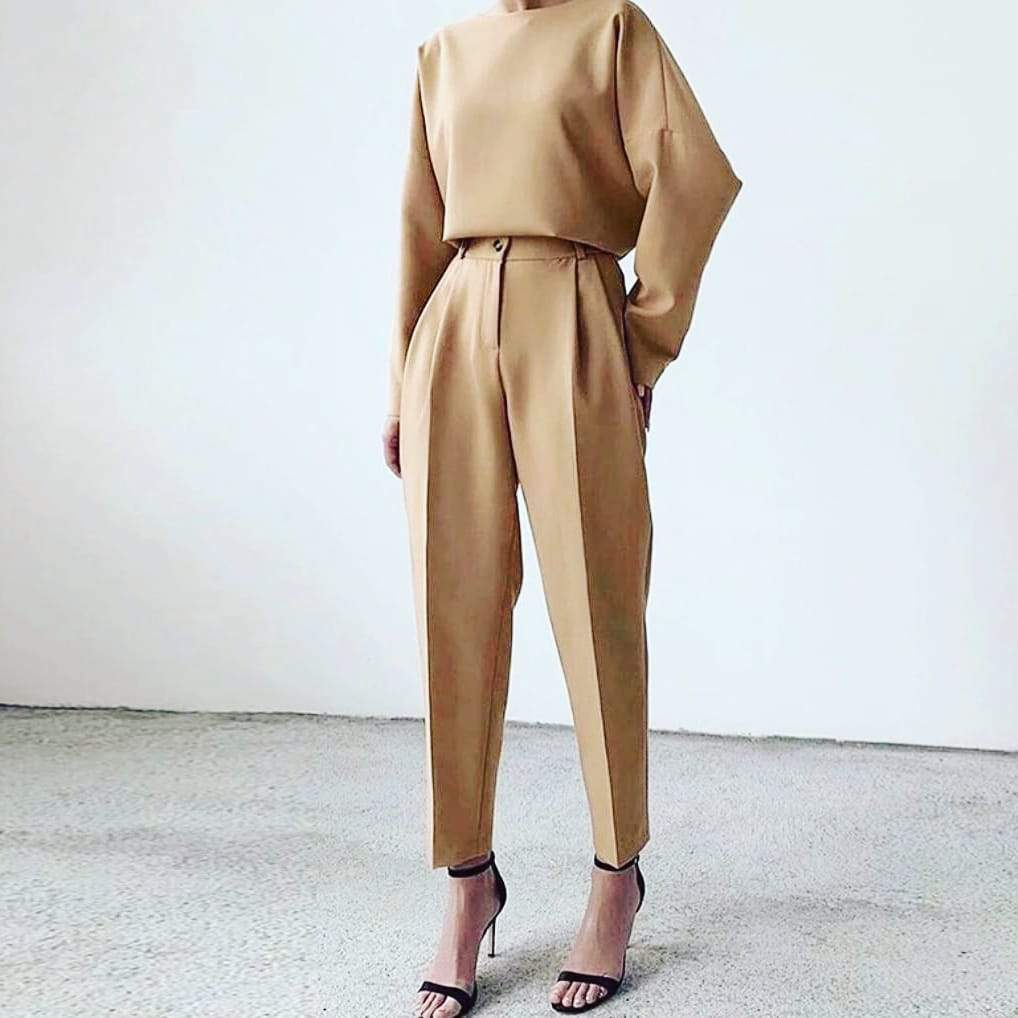 Beige Tapered Trousers L