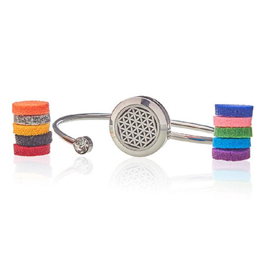 Aromatherapy Diffuser Crystal Bangle 20mm - Flower of Life