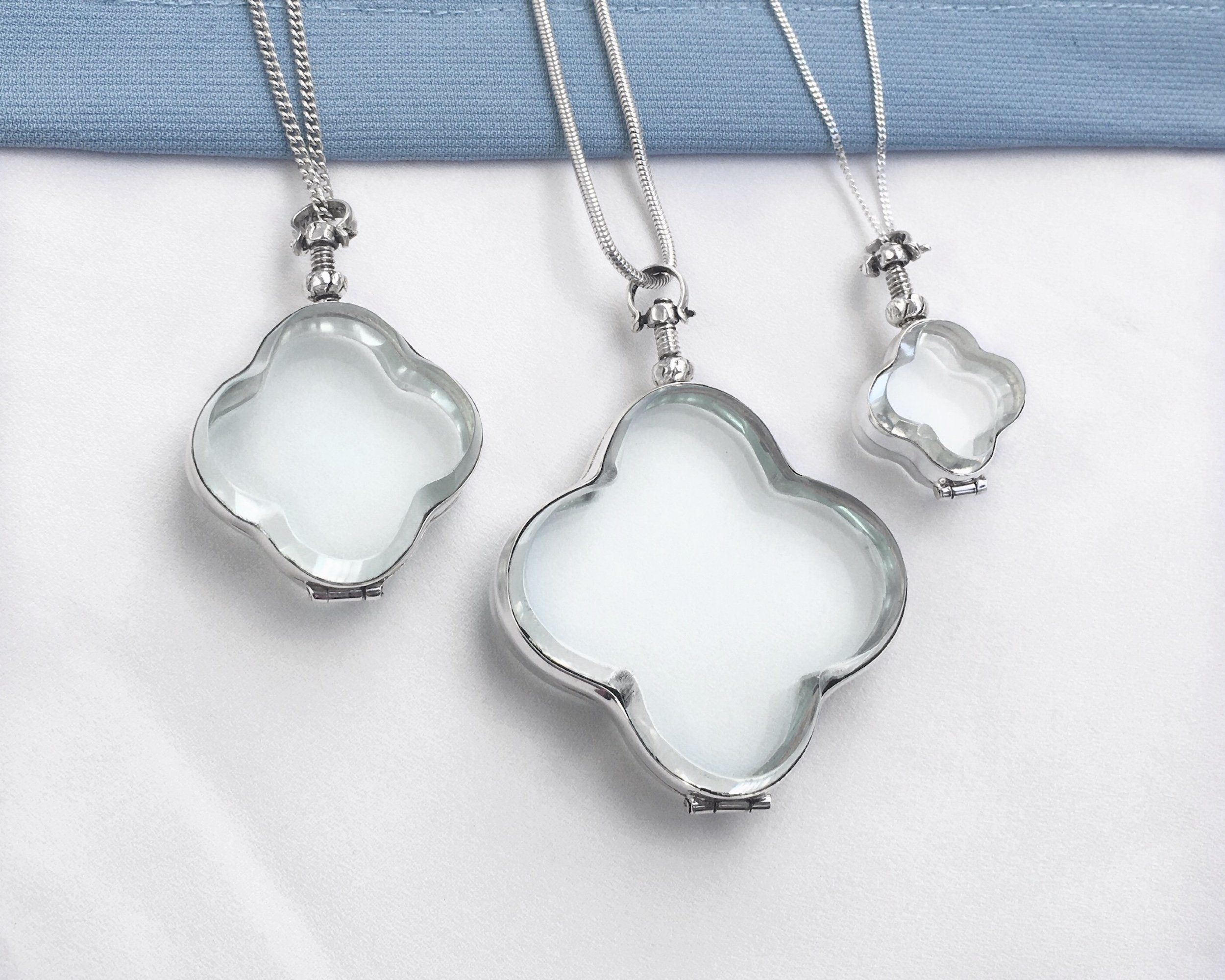 Clover Shaped Glass Locket Small