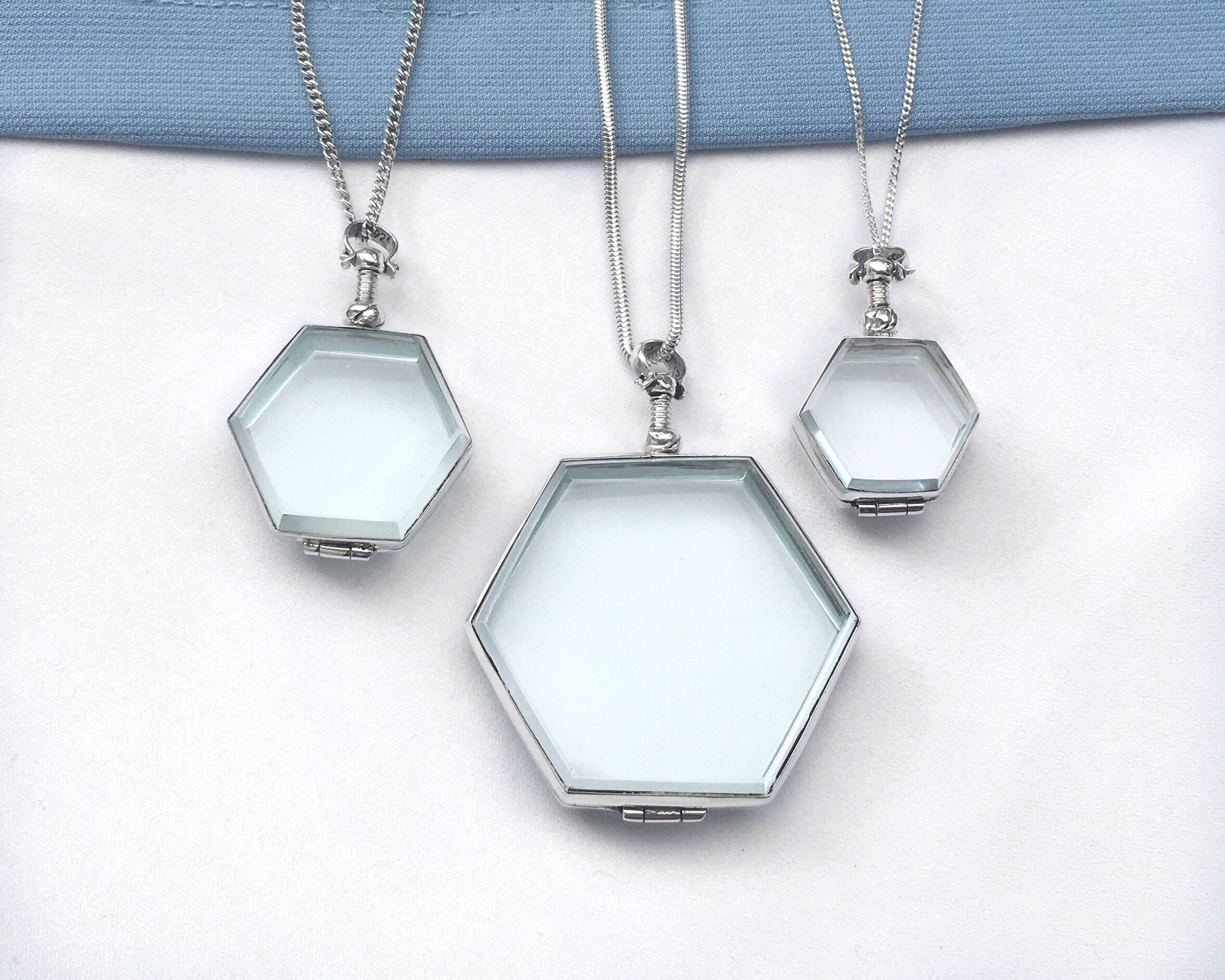 Hexagon Sterling Silver and Antique Glass locket Small