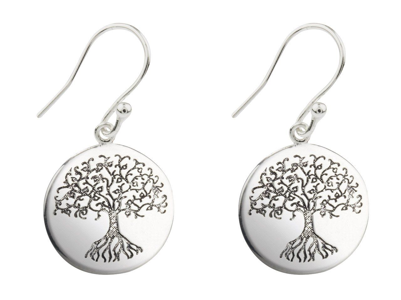 Etched Tree of Life Sterling Silver Drop Earrings