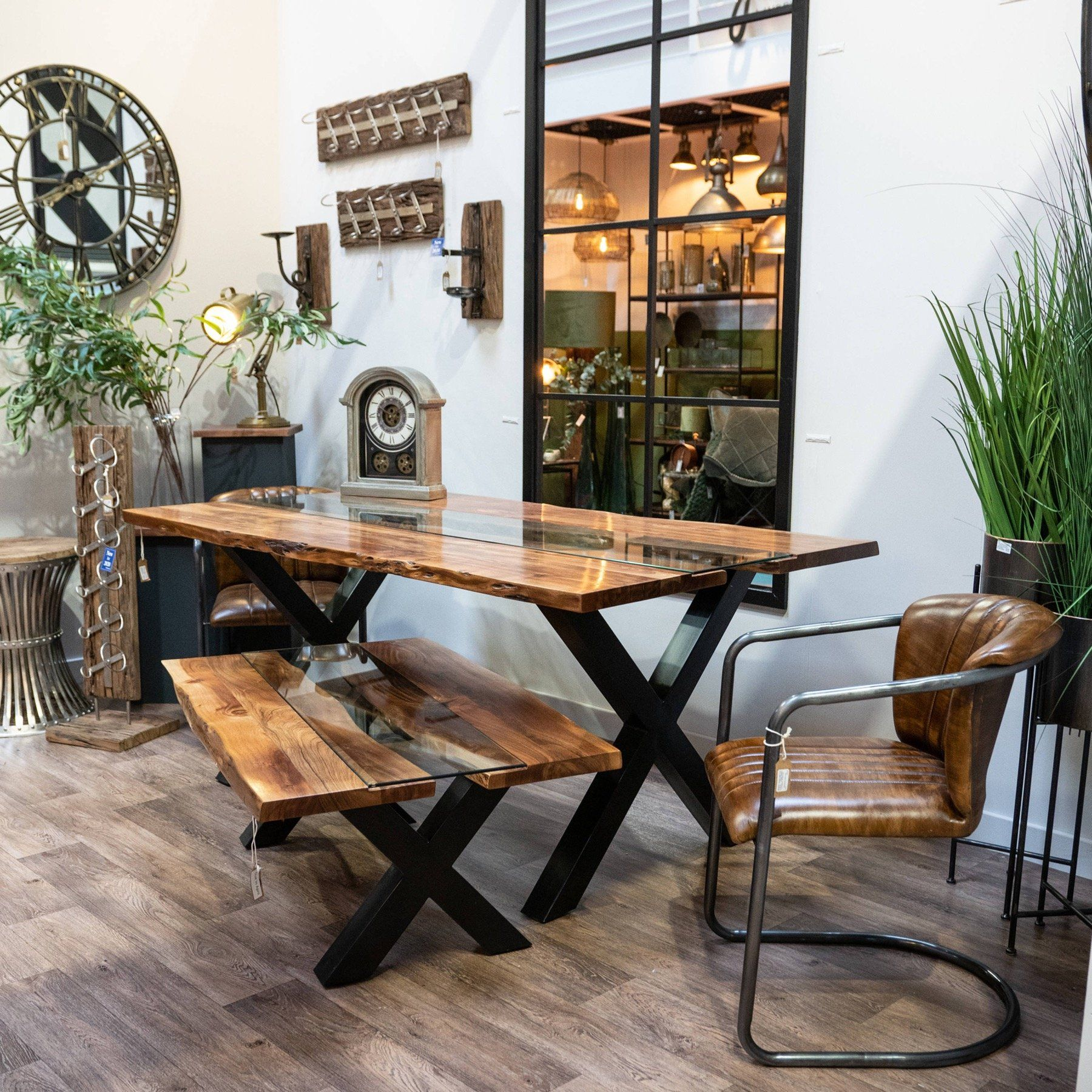 Harvey Collection Live Edge Dining Table