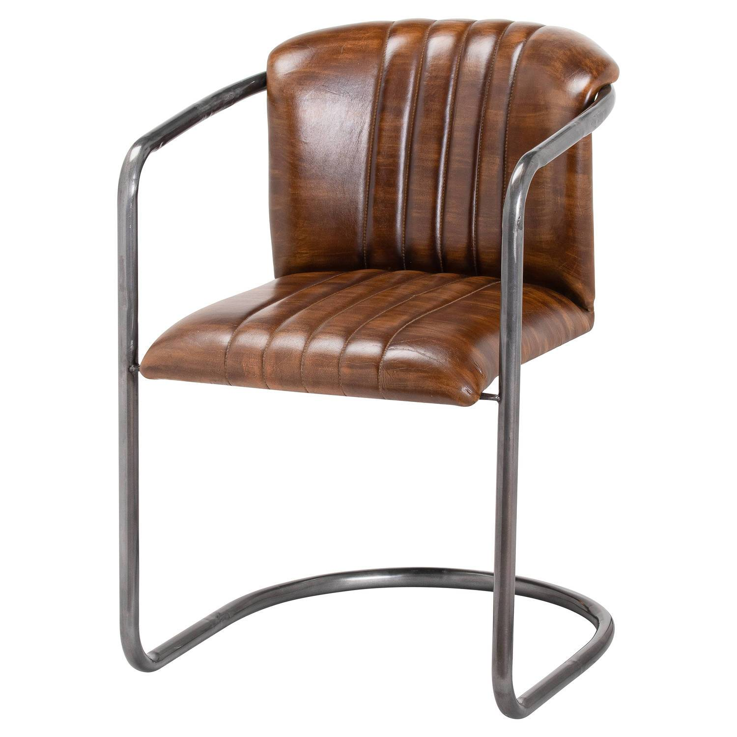 Harvey Collection The Brooklyn Leather Dining Chair Set - Brown