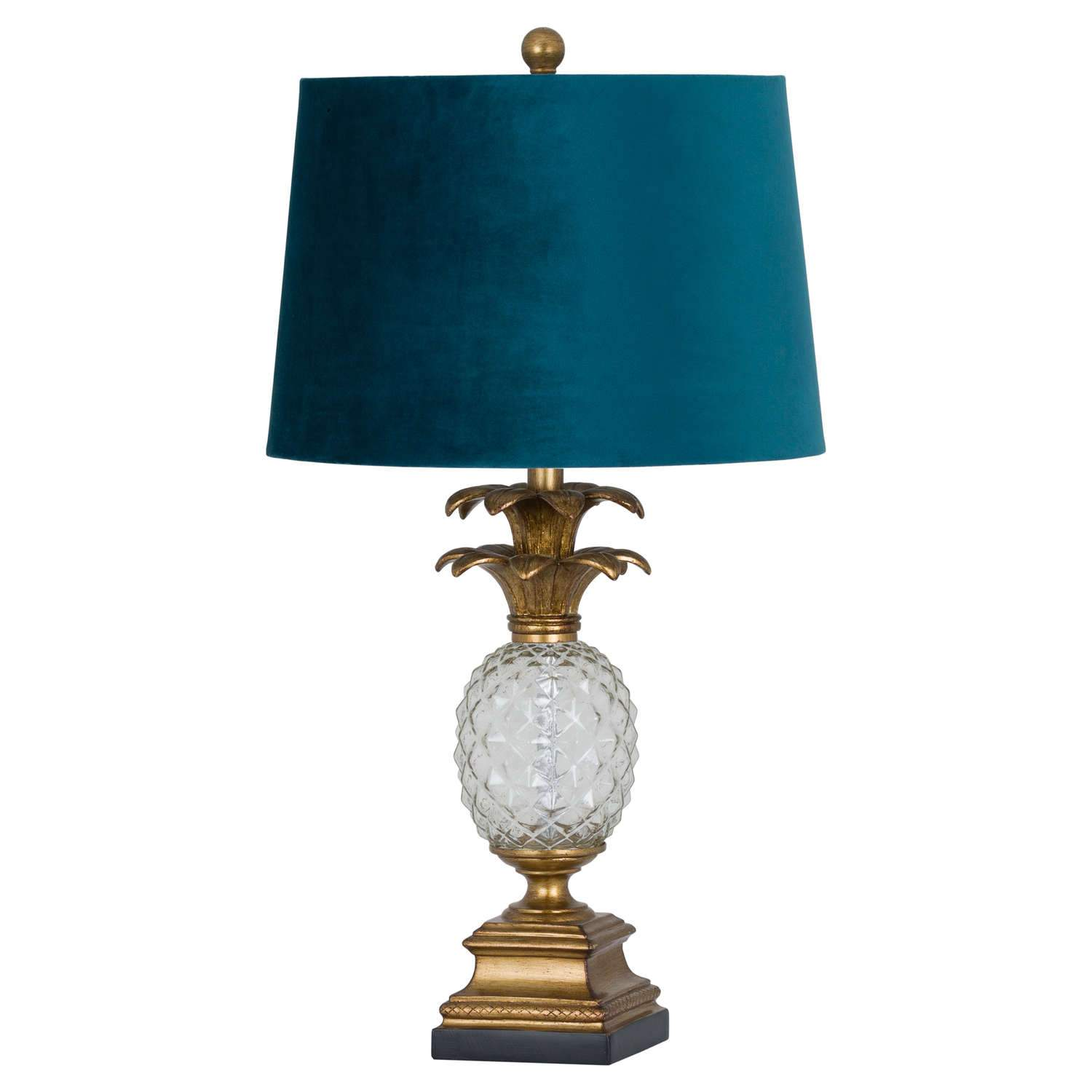 Harvey Collection Ananas Glass Pineapple Table Lamp With Teal Velvet Shade
