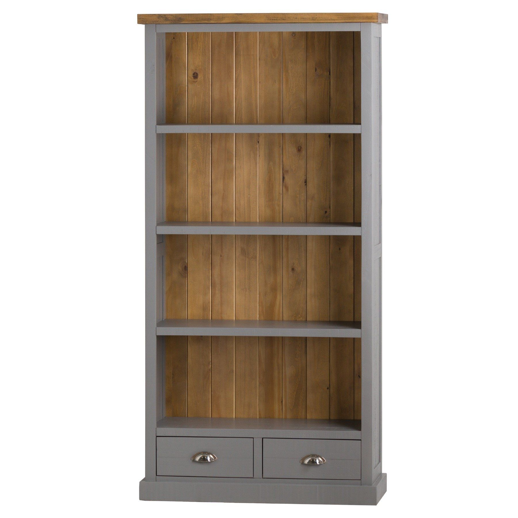 The Byron Collection Two Drawer Bookcase - Grey