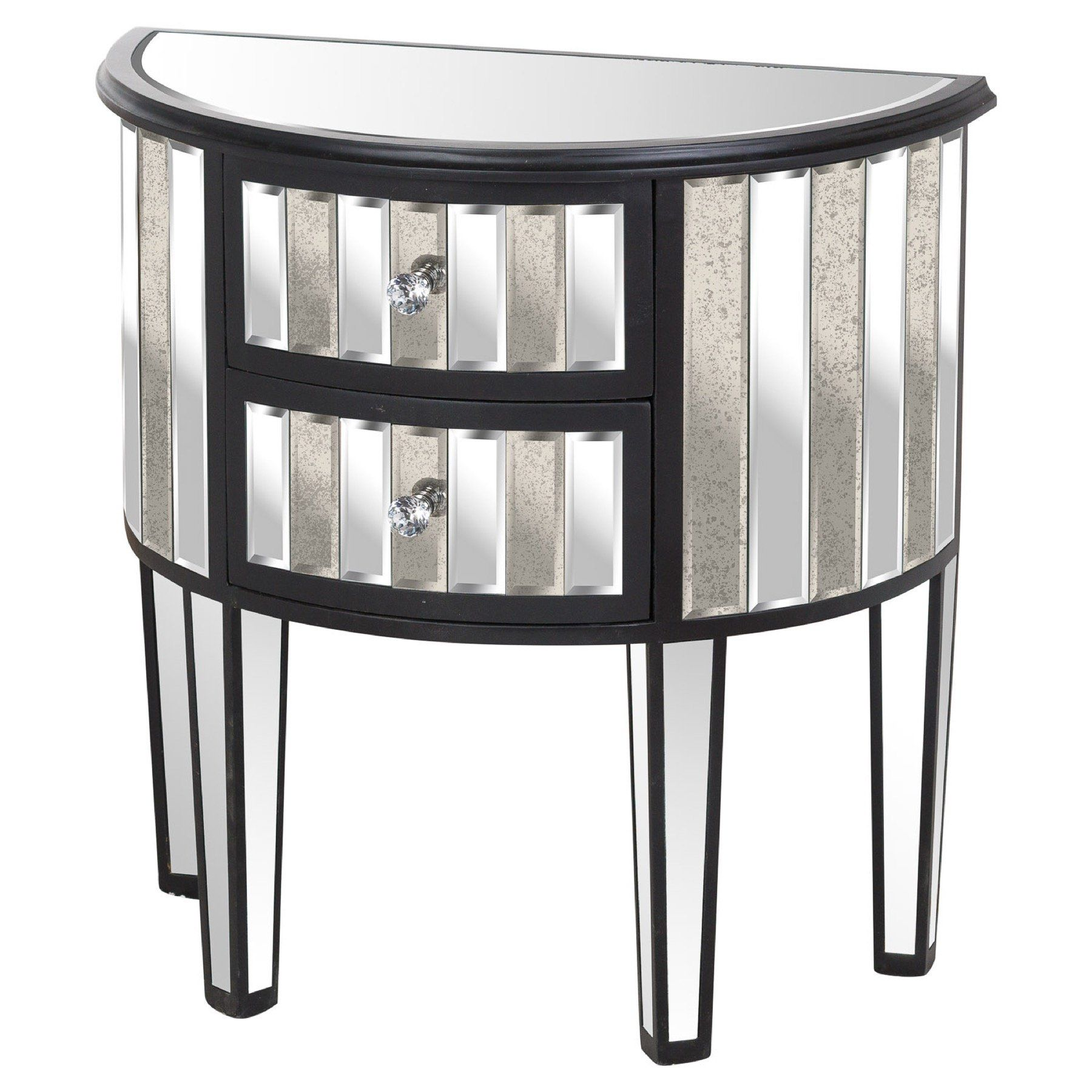 Harvey Collection Black Mirrored 2 Drawer Side Table
