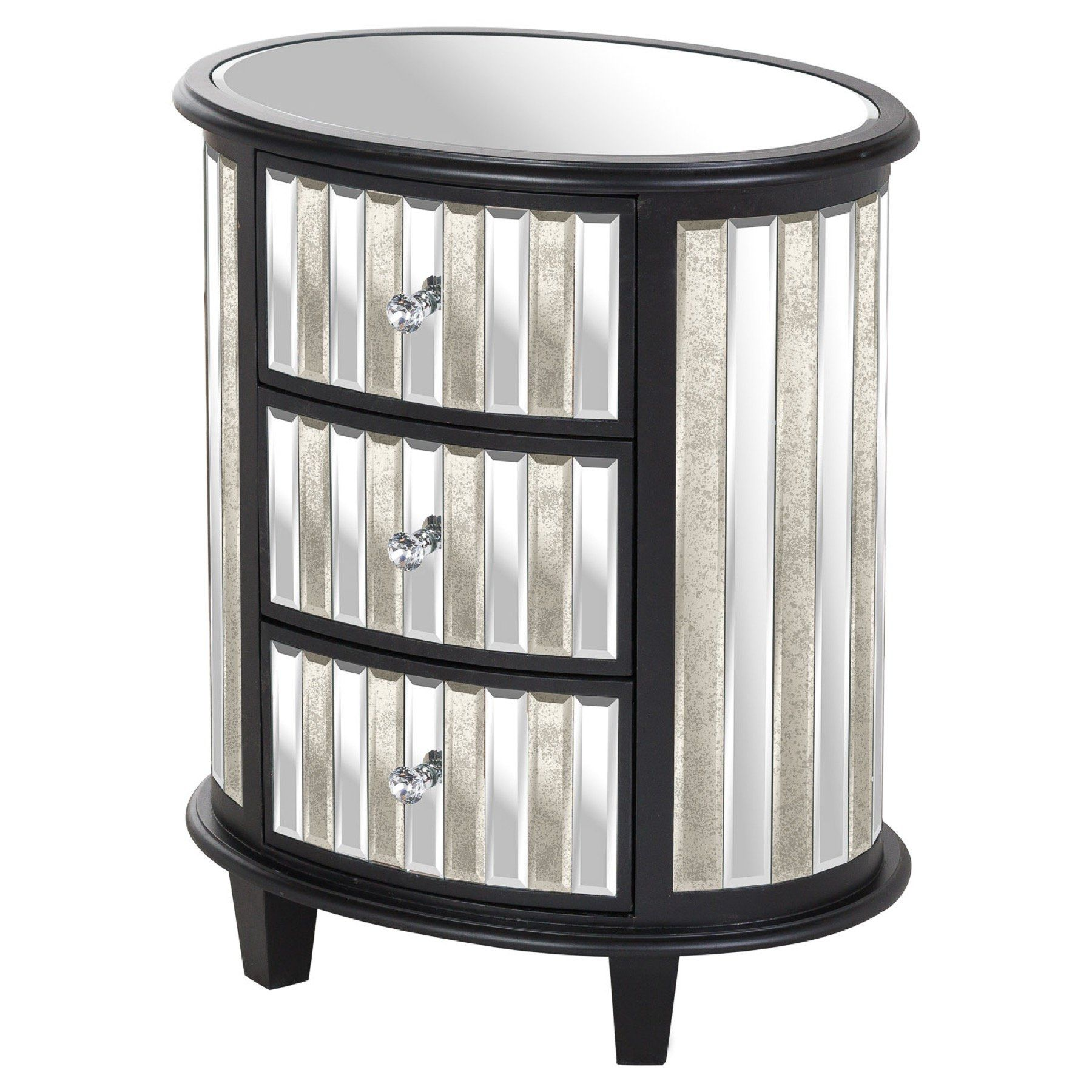 Harvey Collection Black Mirrored Oval 3 Drawer Unit