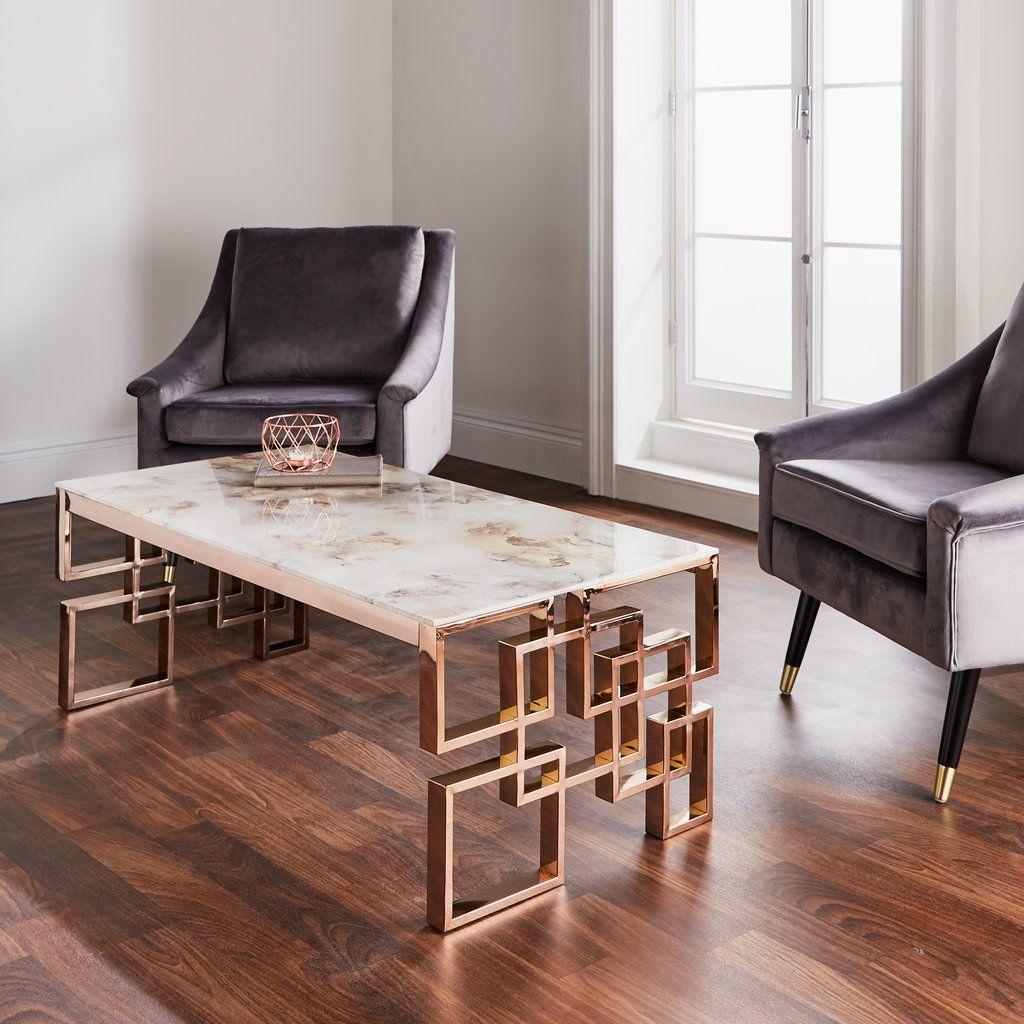 Harvey Collection Marble Coffee Table - Rose Gold