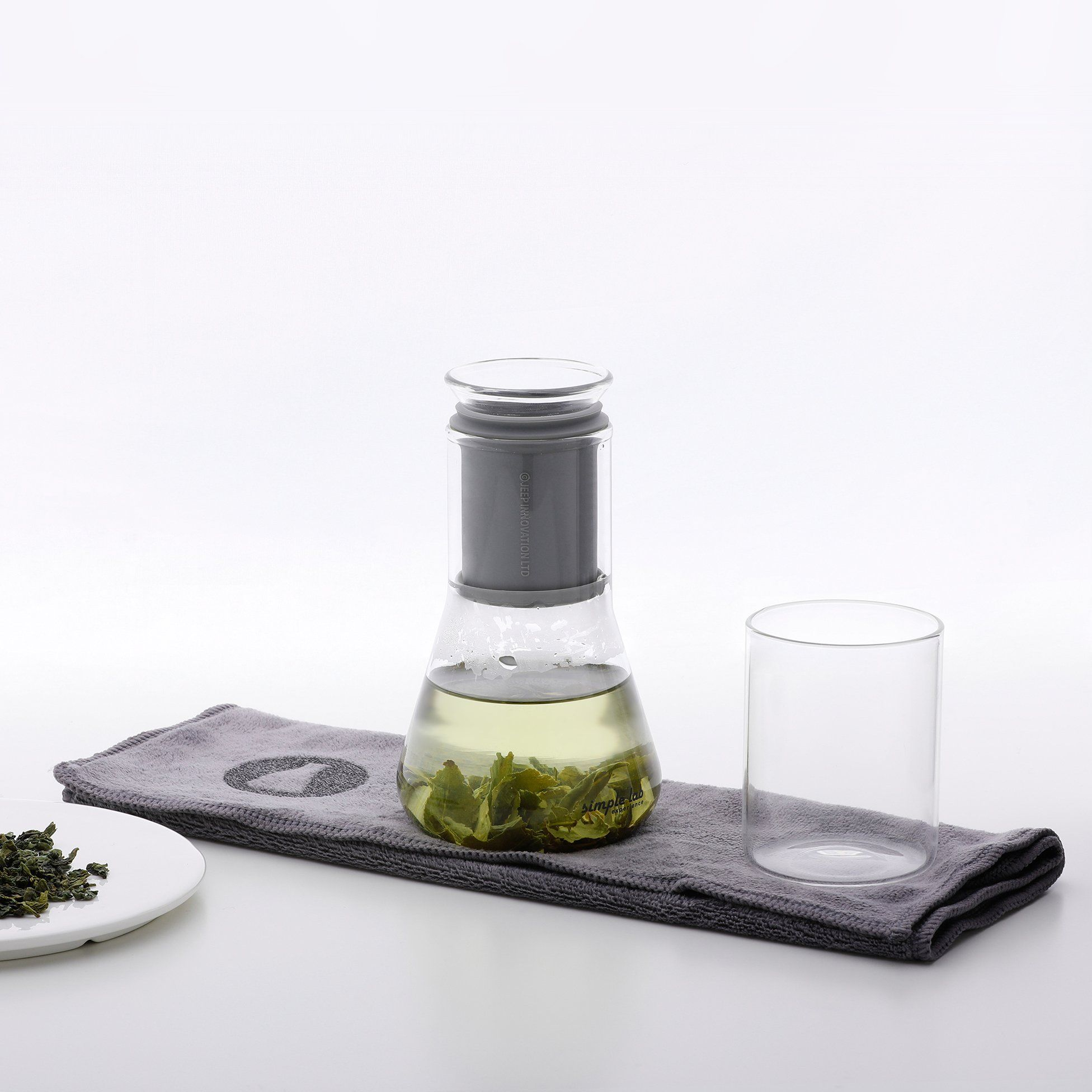 Tea Brewing Set One Cup Glass Science Flask Style Kit with Carry Case