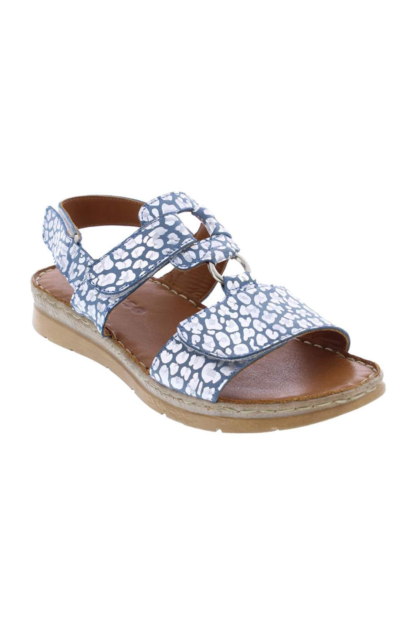 Adesso A6080 Liberty Aegean Leopard Leather Sandals 38 R