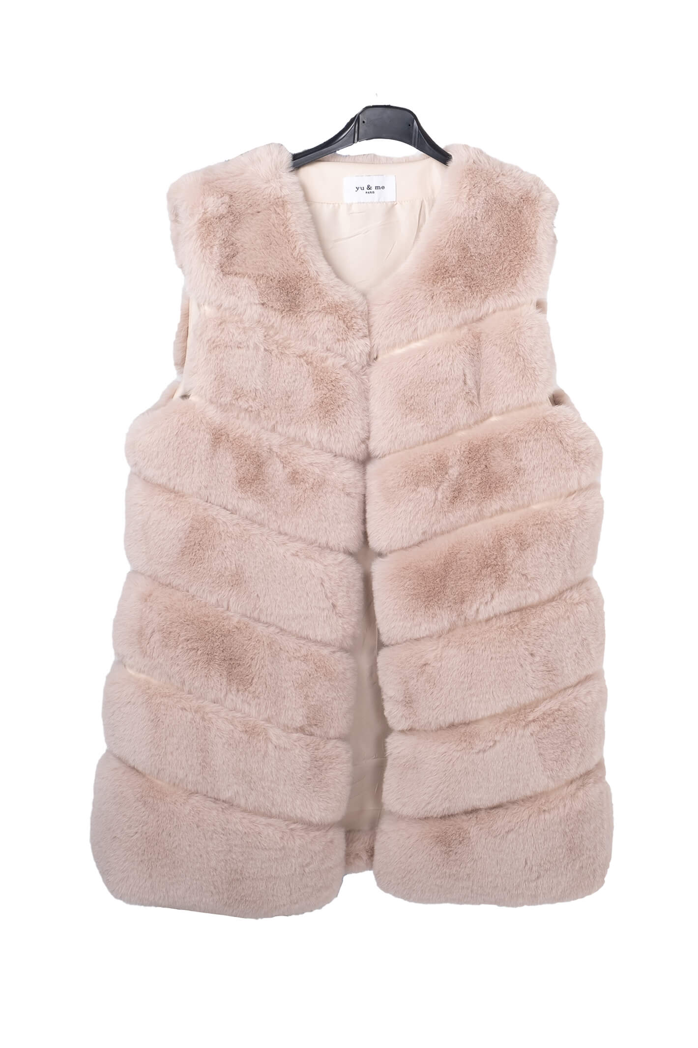 Layered Faux Fur Cream Gilet One Size
