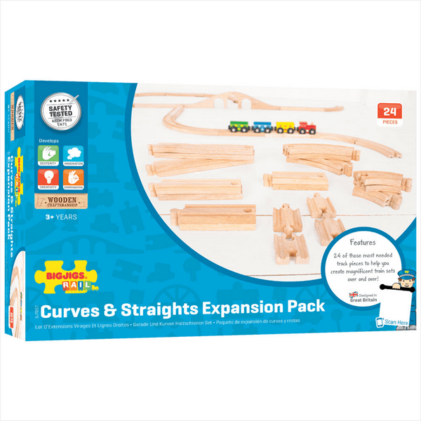 Curves and Straights Wooden Train Track Expansion Pack