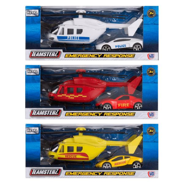 Emergency response vehicle car and helicopter