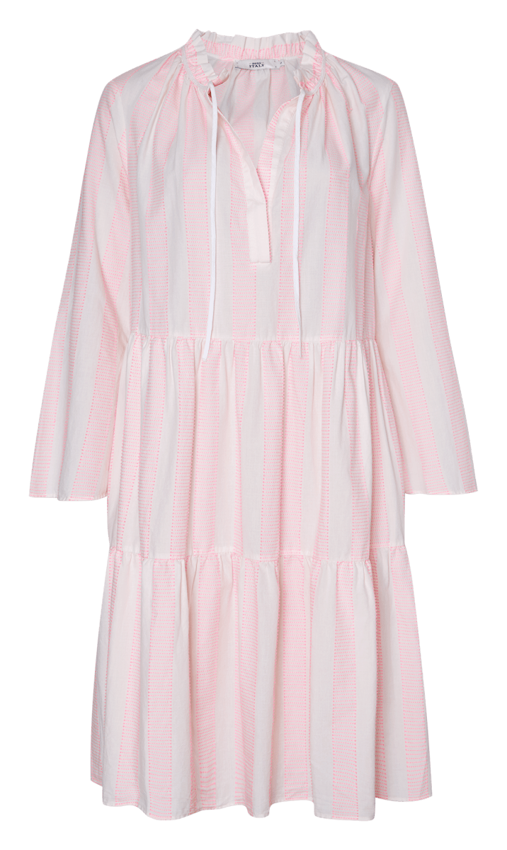 0039 Milly Dress in White and Neon Pink 212116 L
