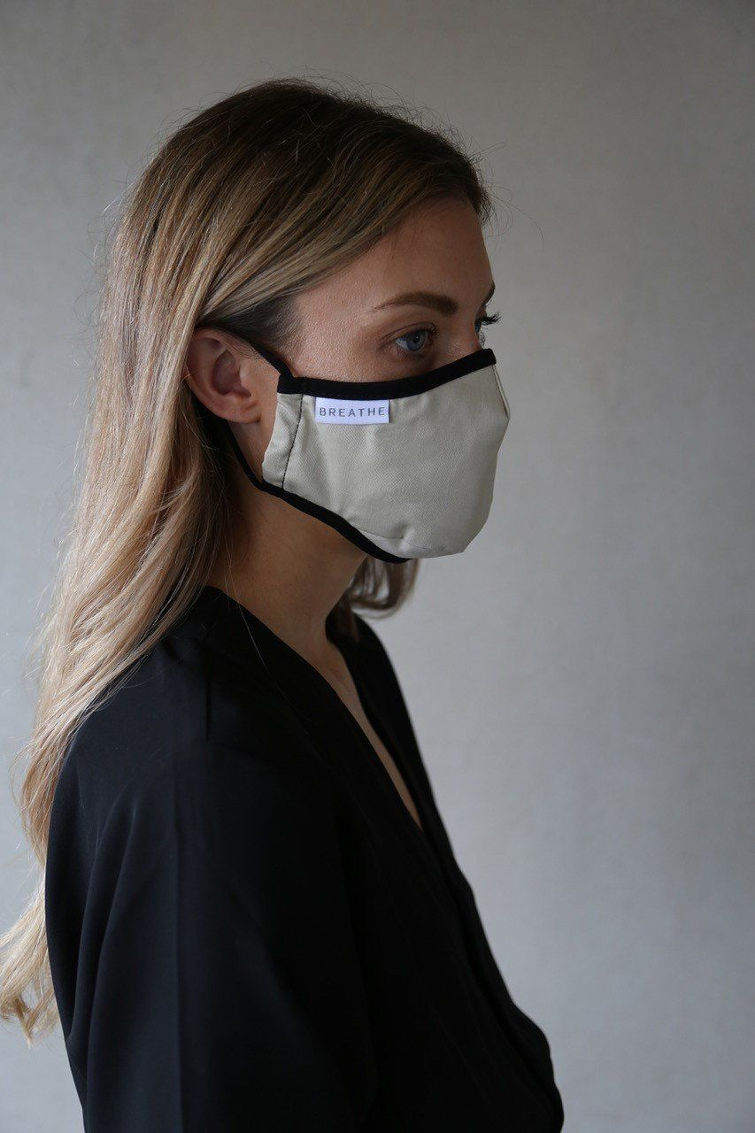 Breathe Adult Filter Face Mask in Stone