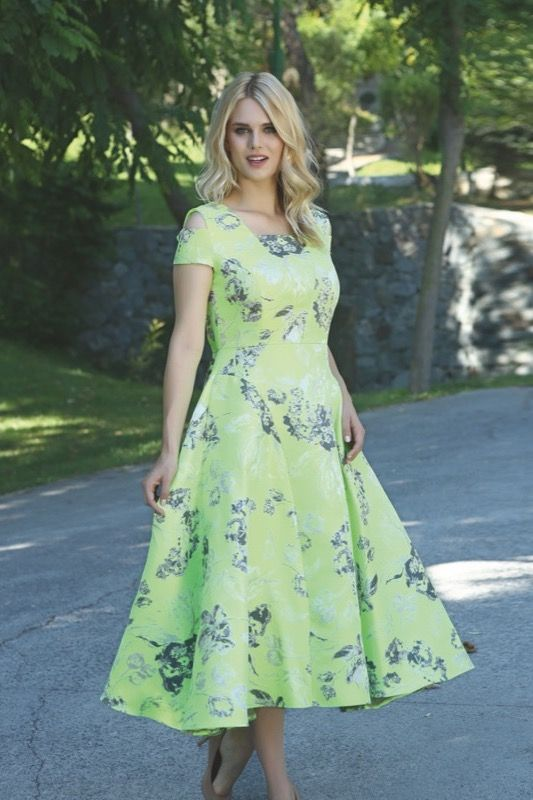 Ellaboo Lime Fit and Flare Dress