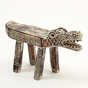 Hand Carved Wooden 'Croc' Bench / Stool