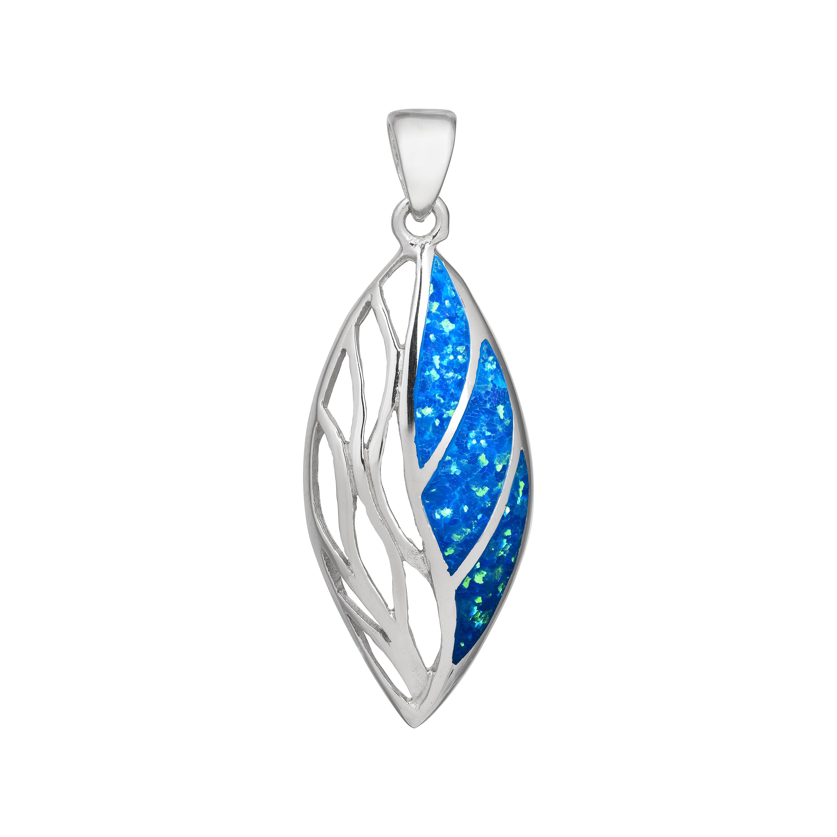 Absolutely Stunning Large Blue Opal Marquise Pendant