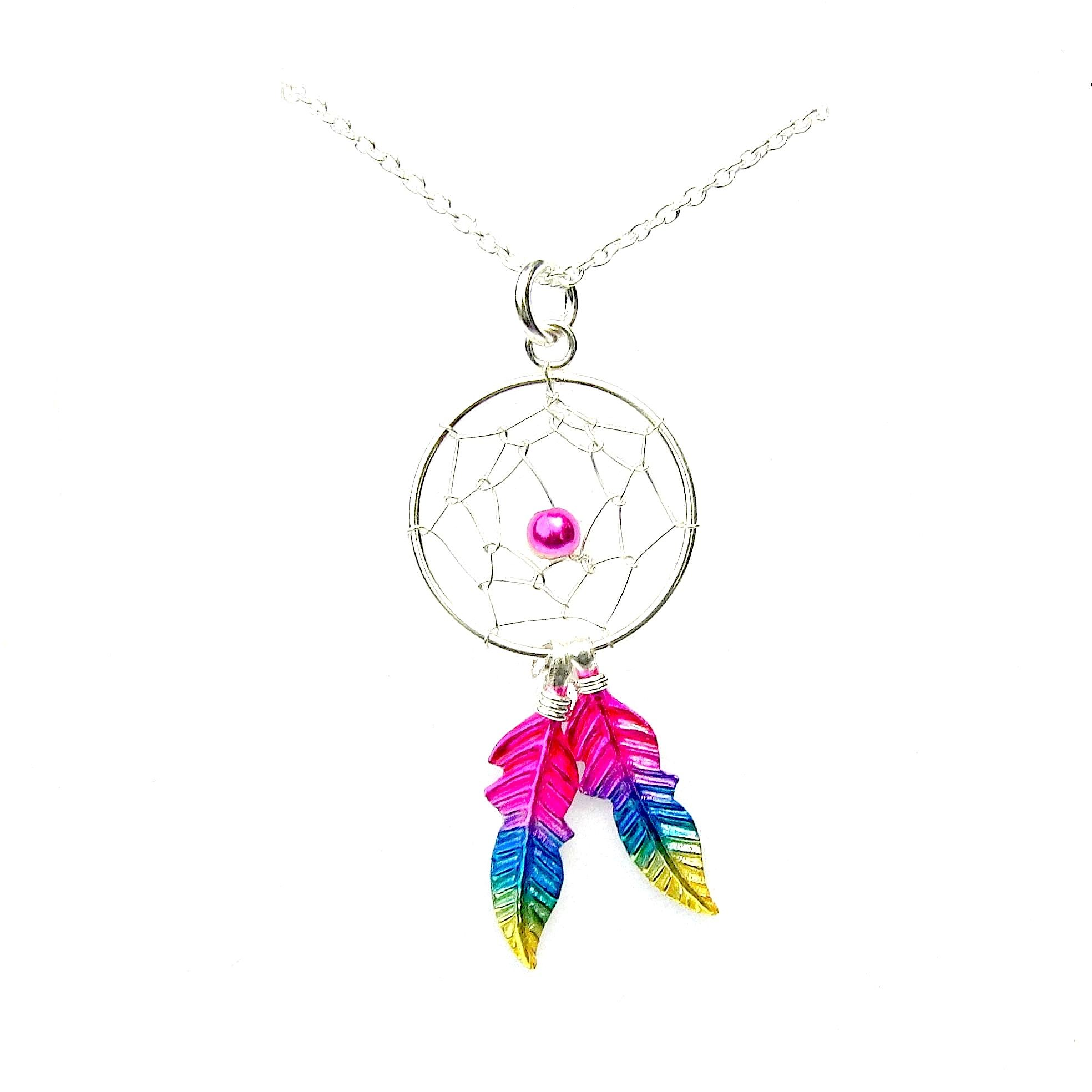 Beautiful Sterling Silver Rainbow Dreamcatcher Necklace