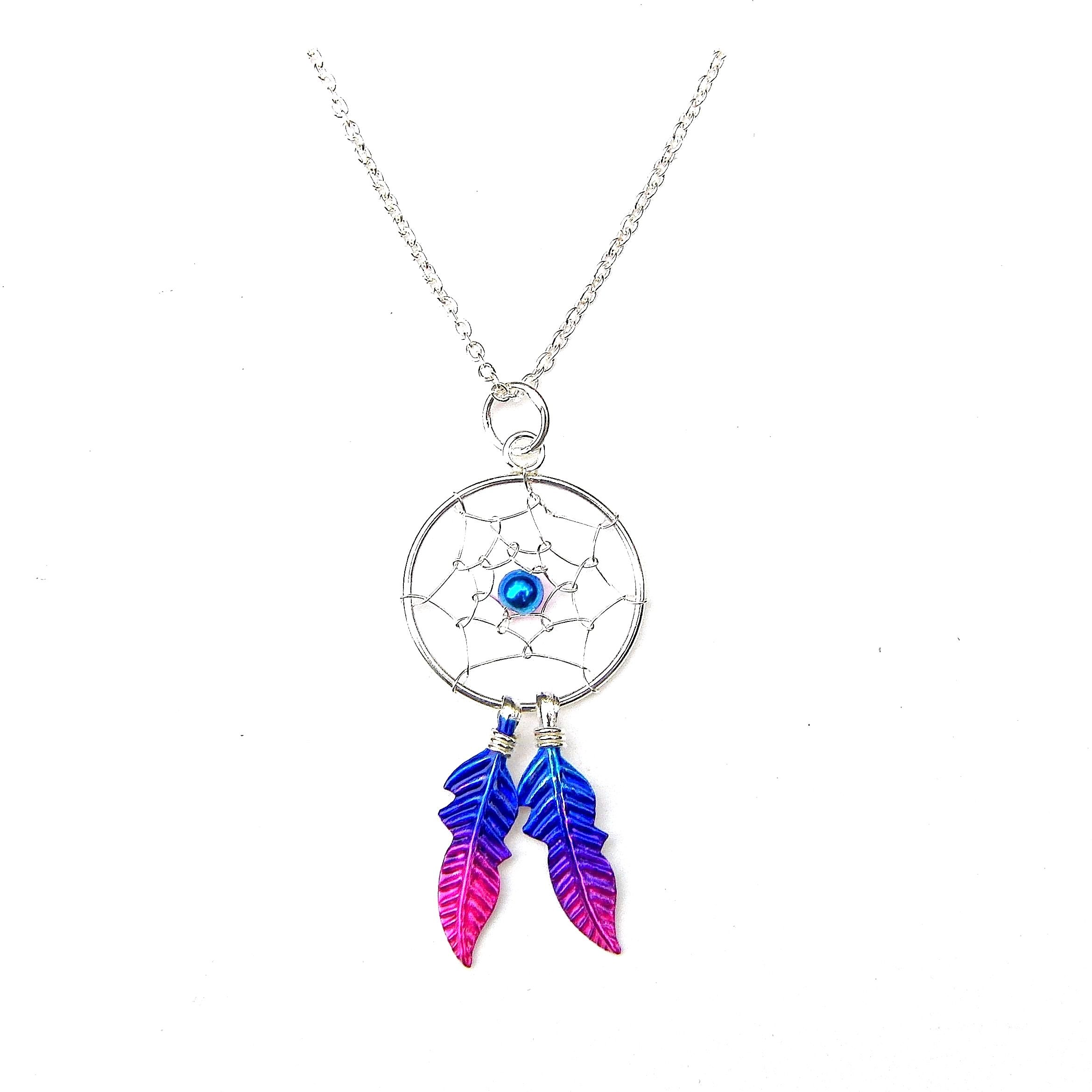 Beautiful Sterling Silver Magenta Dreamcatcher Necklace