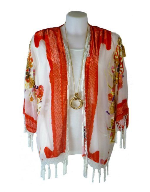 JayLey Orange and White Silk Devore Kimono