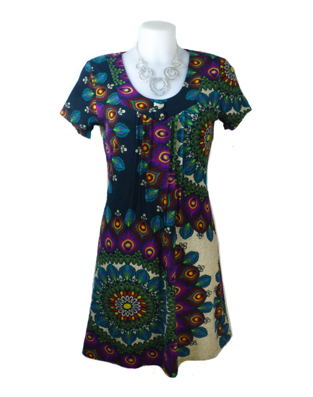Purplish London Purple Round Neck Peacock Print Tunic XXXL 18-Small 20