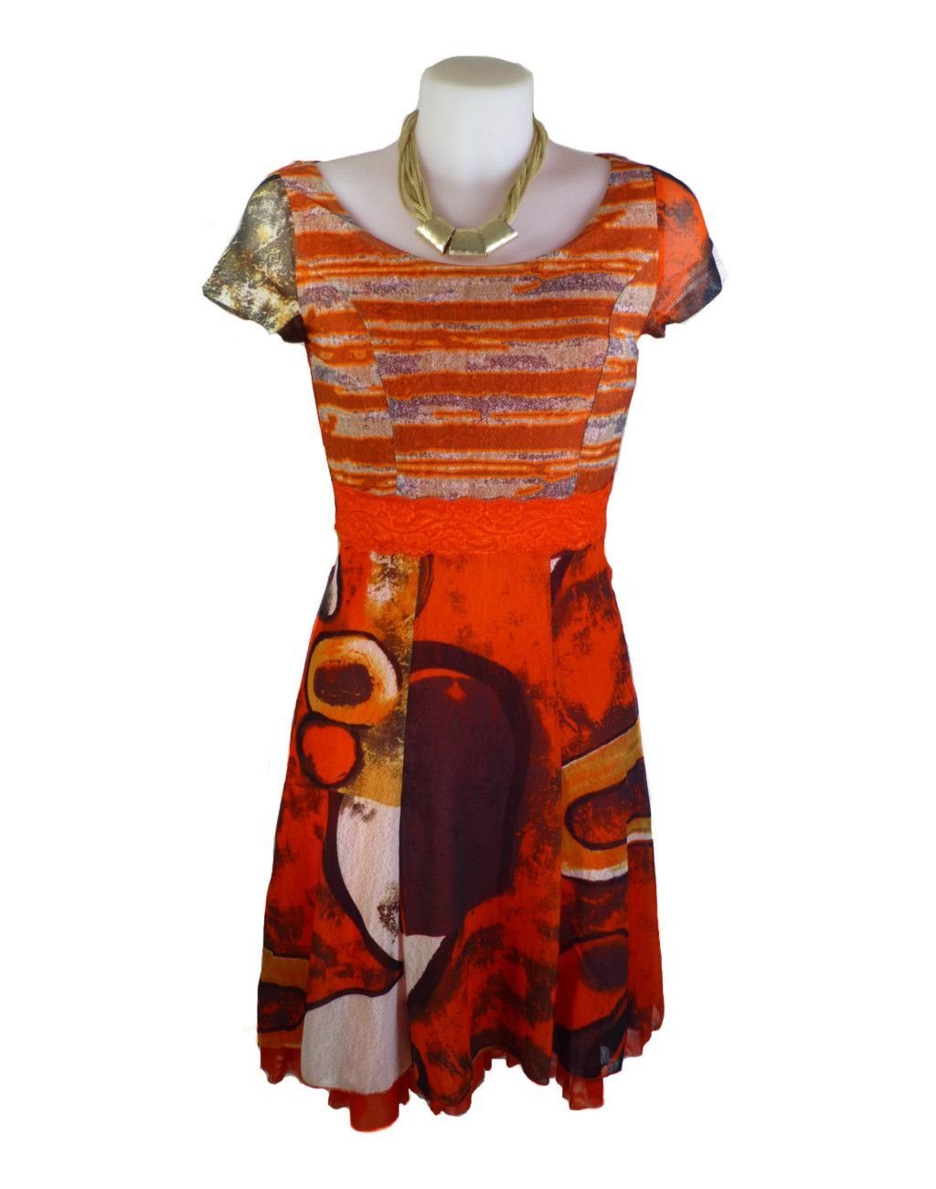 LULU-H French Style Orange Dress 06-8
