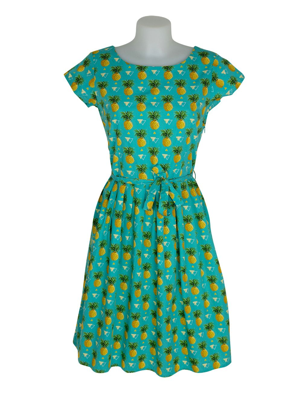 Run & Fly Retro Vintage Tutti Frutti Pineapple Dress 8 XS