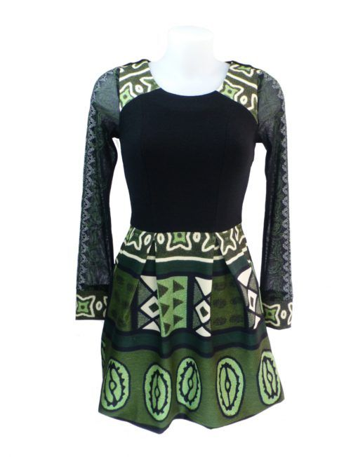 LULU-H Net Sleeve Green Dress 08 S