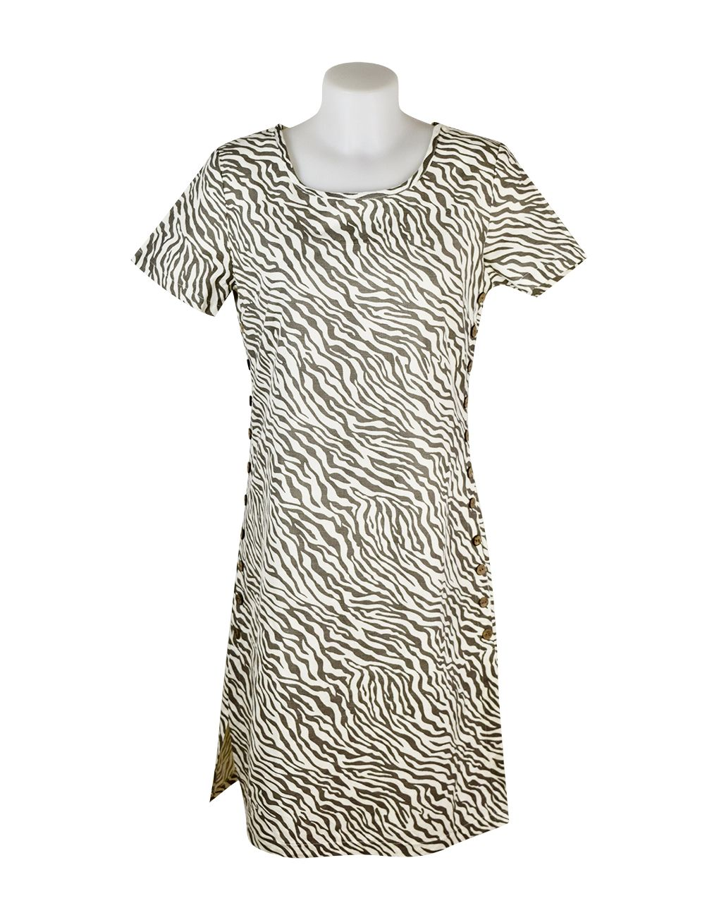 Alice Collins Kylie Dress Mushroom Zebra 8 XS