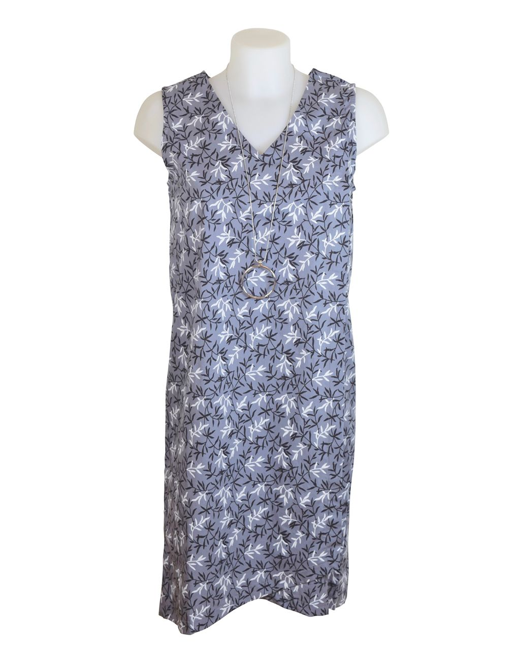 Alice Collins Summer Dress Okaleaf Grey 8 XS