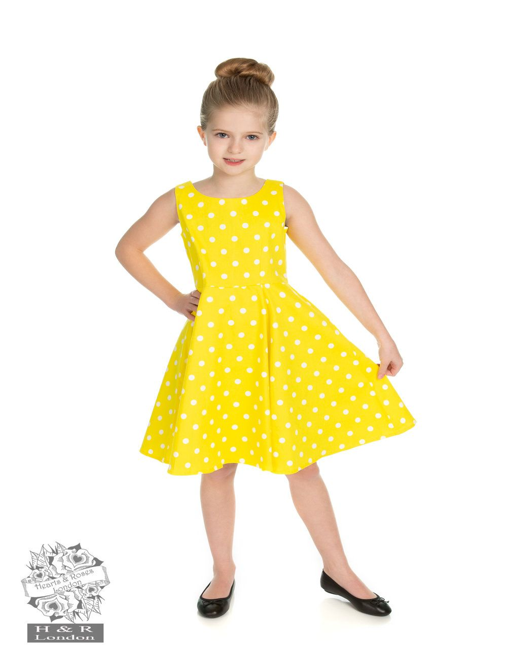 H&R Children's Cindy Polka Dot Swing Dress in Yellow 3-4 Years