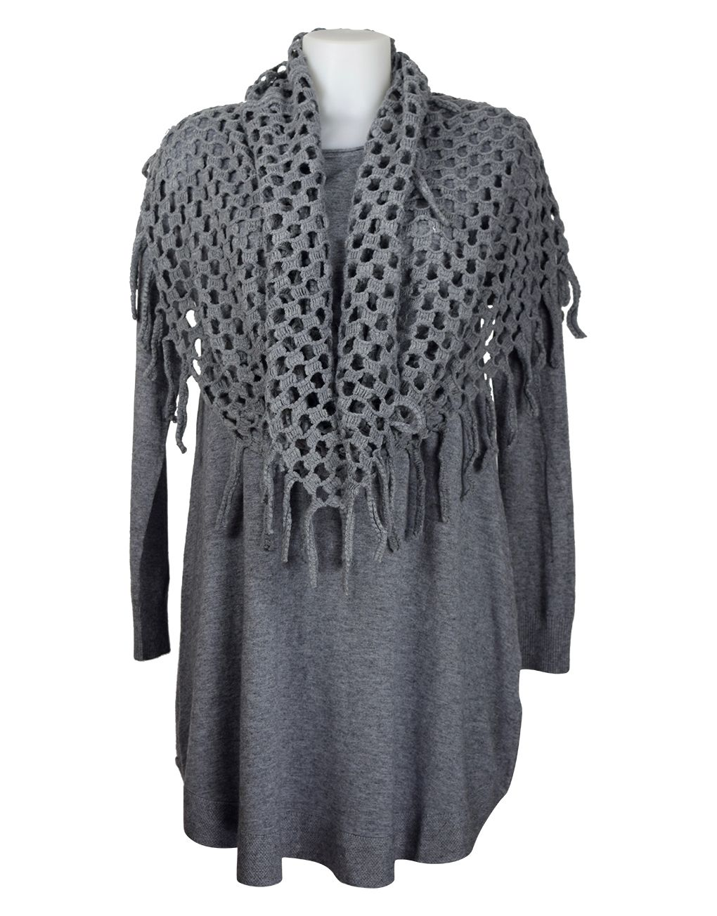 Fashion Fix Italian Grey Knitted Tunic With Snood/Scarf