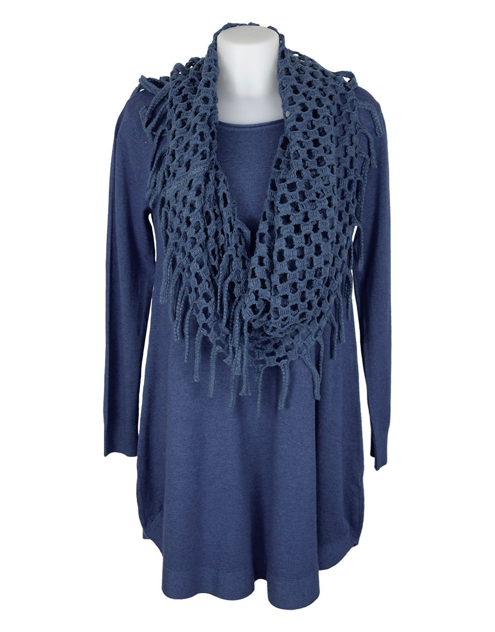 Fashion Fix Italian Blue Knitted Tunic With Snood/Scarf