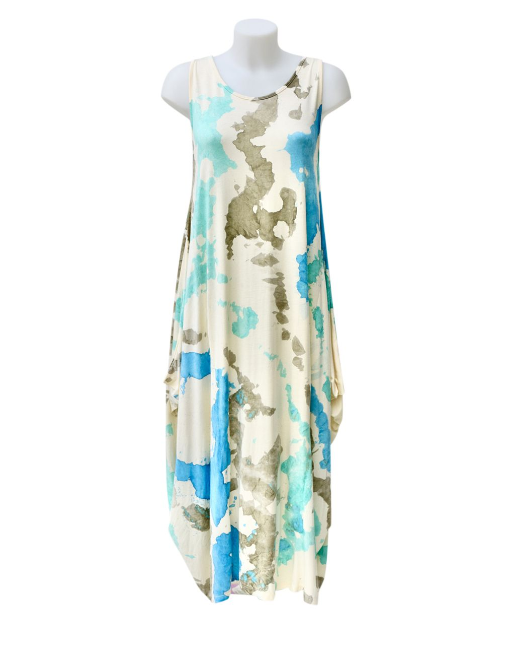 Fashion Fix Italian Tie Dye Magic Maxi Dress Aqua