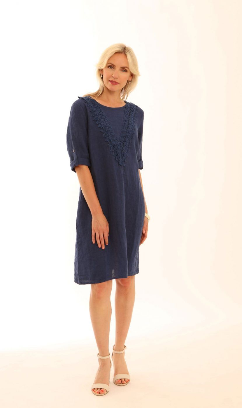 Chambray Linen Dress with Lace Panel from Pomodoro