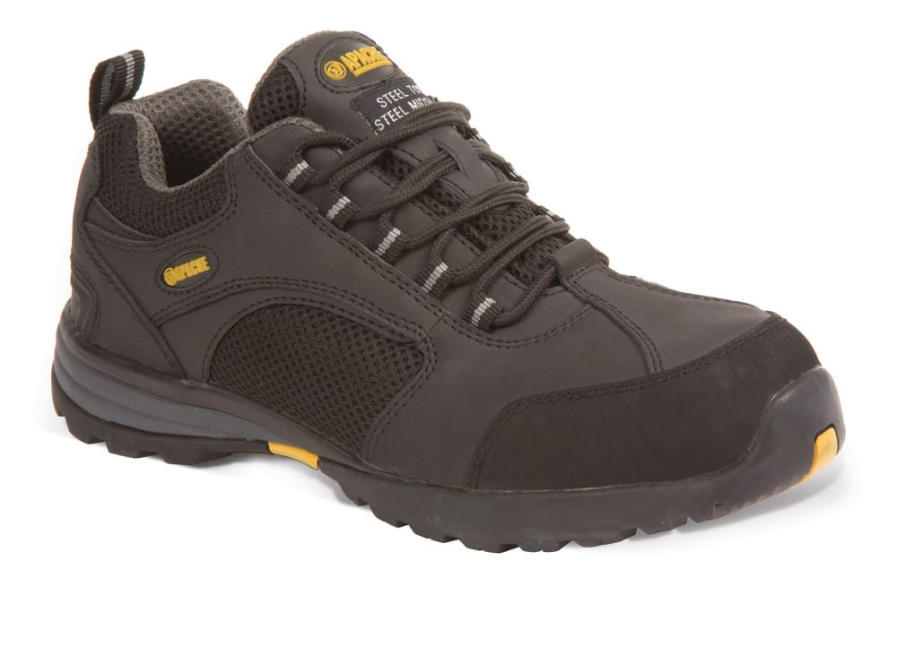 Apache Black Leather/Mesh Safety Trainer. Steel Toe Cap & Midsole-AP318 SM Black - 6