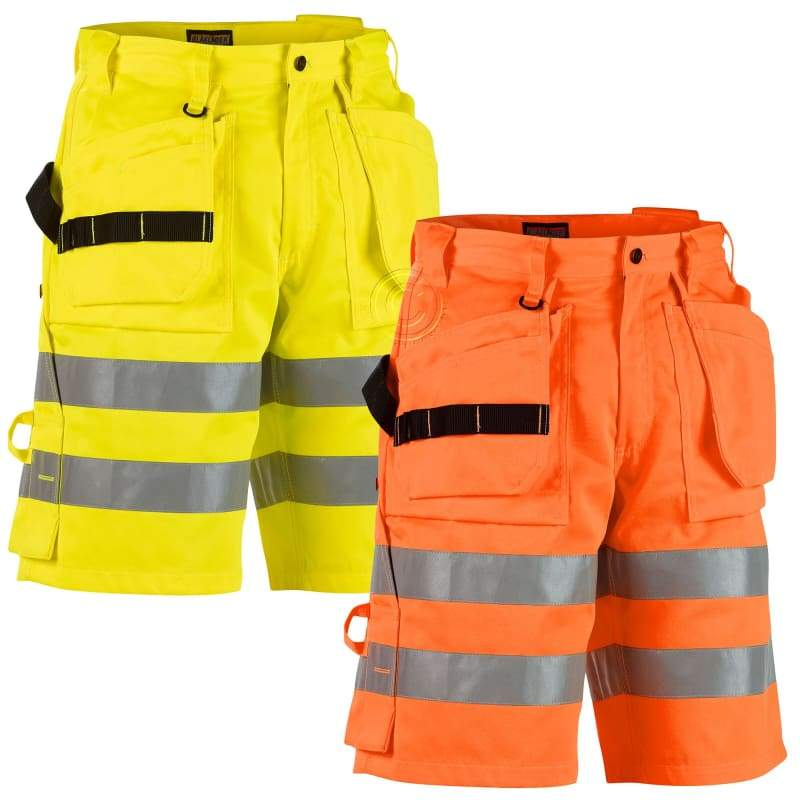 Blaklader Hi Vis Work Shorts with Nail Pockets (PolyCotton 300gm) - 1.. Yellow 3300 - (C48)W32 X L31