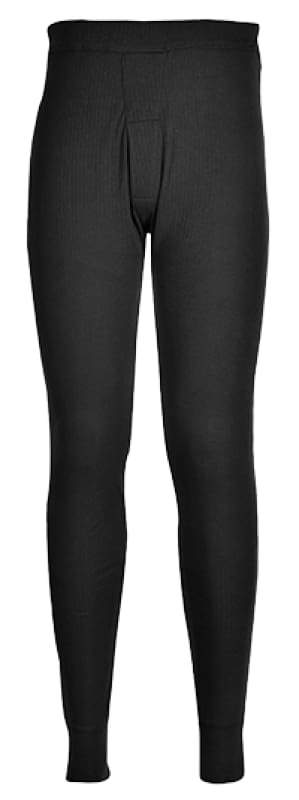 Portwest Thermal Baselayer Long John Trousers - B121 Black - Small