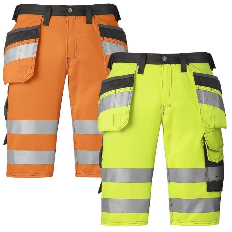 Snickers Hi Vis Holster Pocket Work Shorts Class 1 (Dirt .. Hi Vis Orange/Muted Black - Reg 44 (W30)