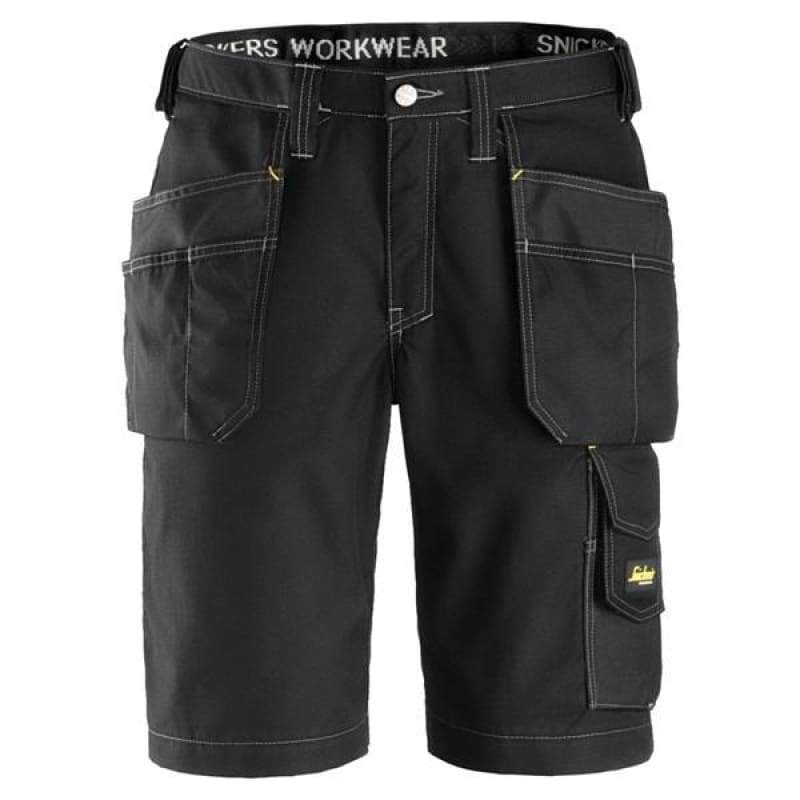 Snickers Craftsmen Work Shorts with Holster Pockets Rip-Stop - 3023 Black/Black - Reg 50 (W35)