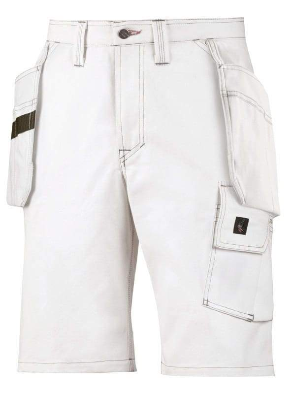 Snickers Workwear White Painters Holster Pockets Work Shorts - 3075 White/White - Reg 42 (W28)