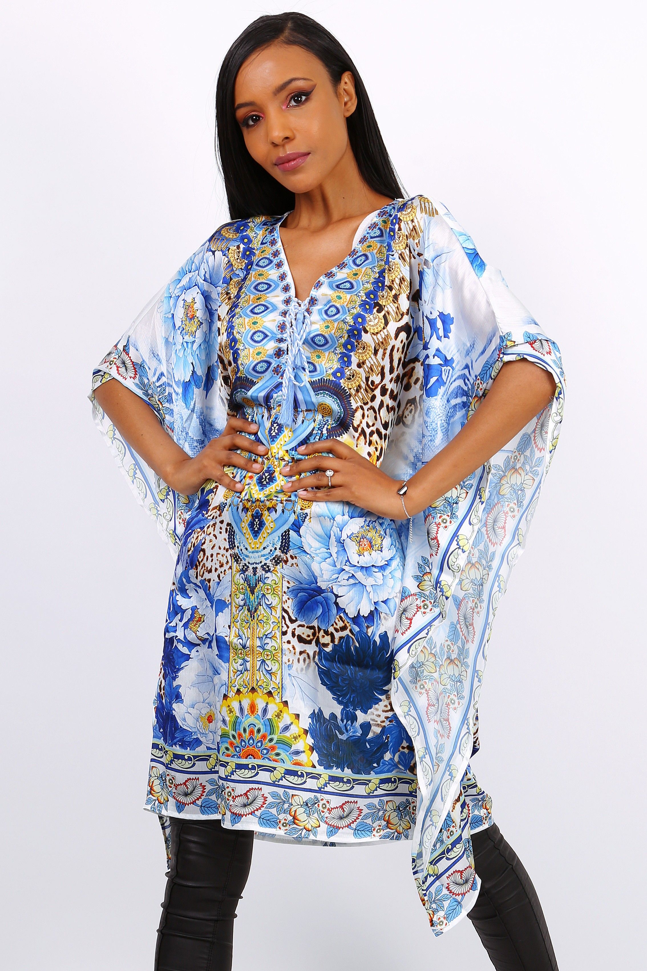 Silk Feel Blue & White Print Kaftan Top S/M