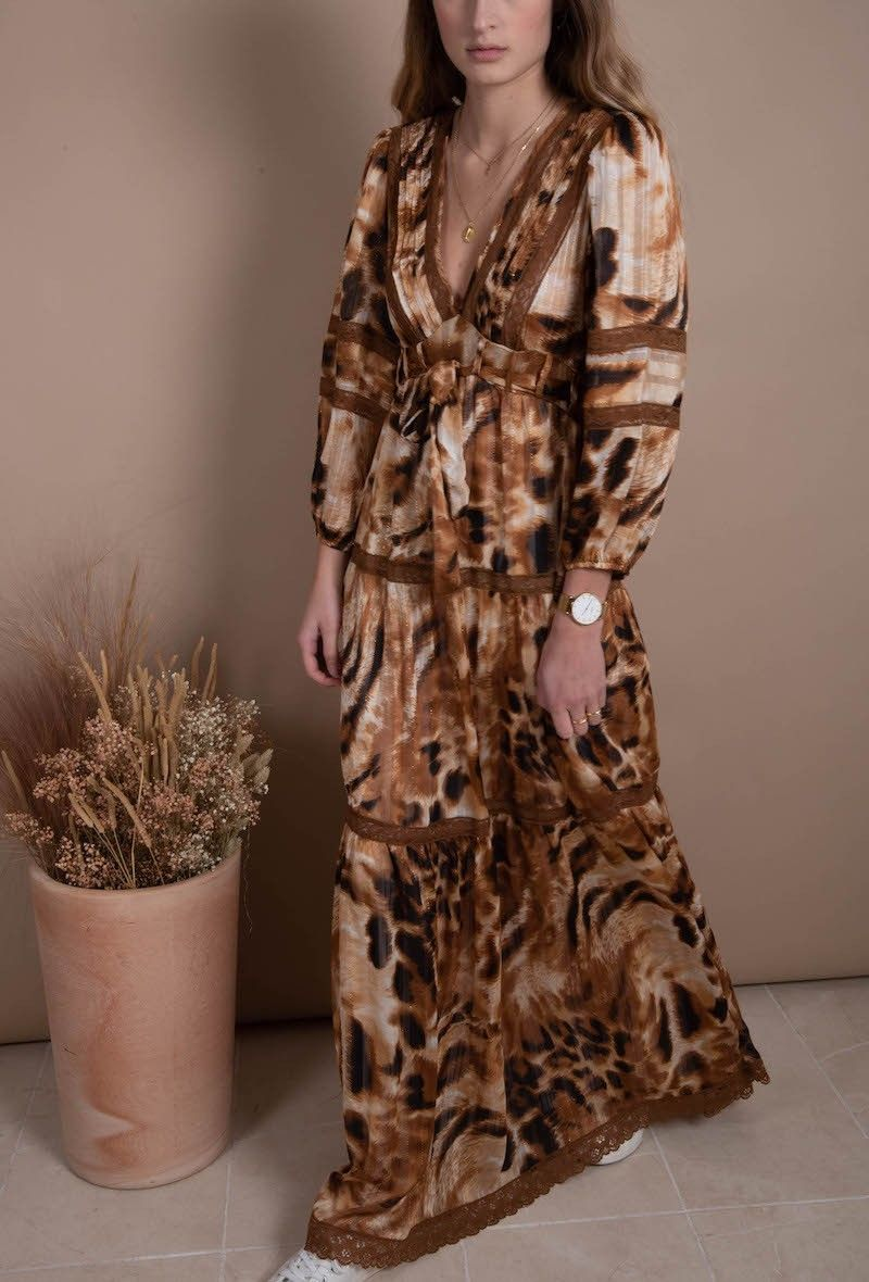 Leopard Print Long Sleeve Maxi Dress S