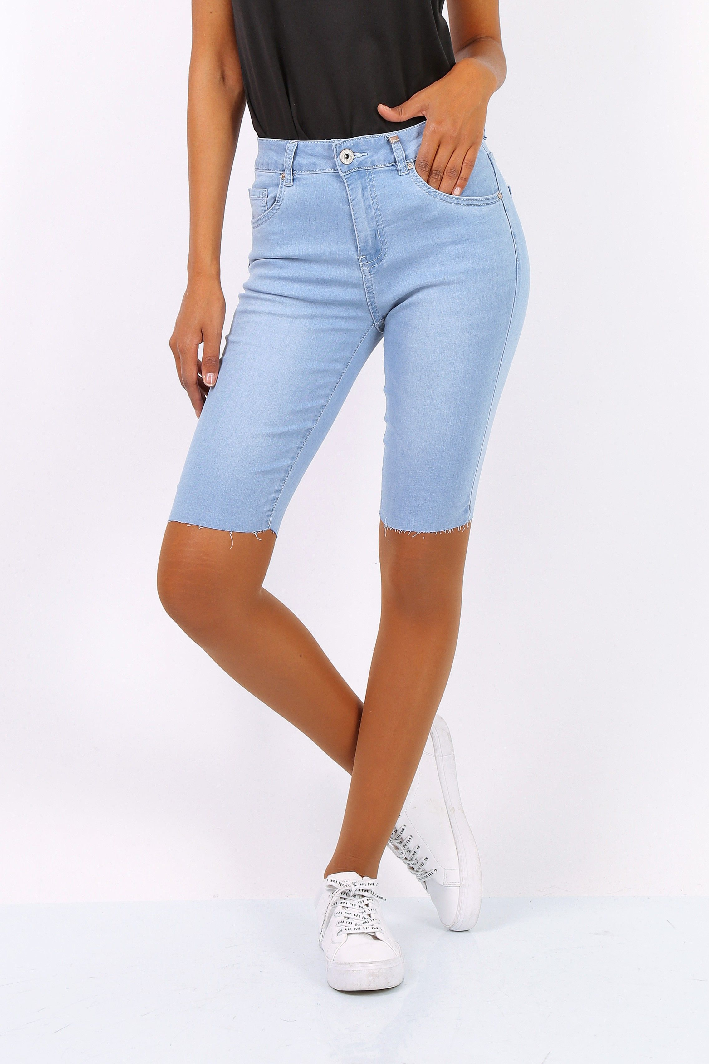 Toxik 3 Jean Shorts | Light Blue H2435 Mid Rise with Raw Hem UK6
