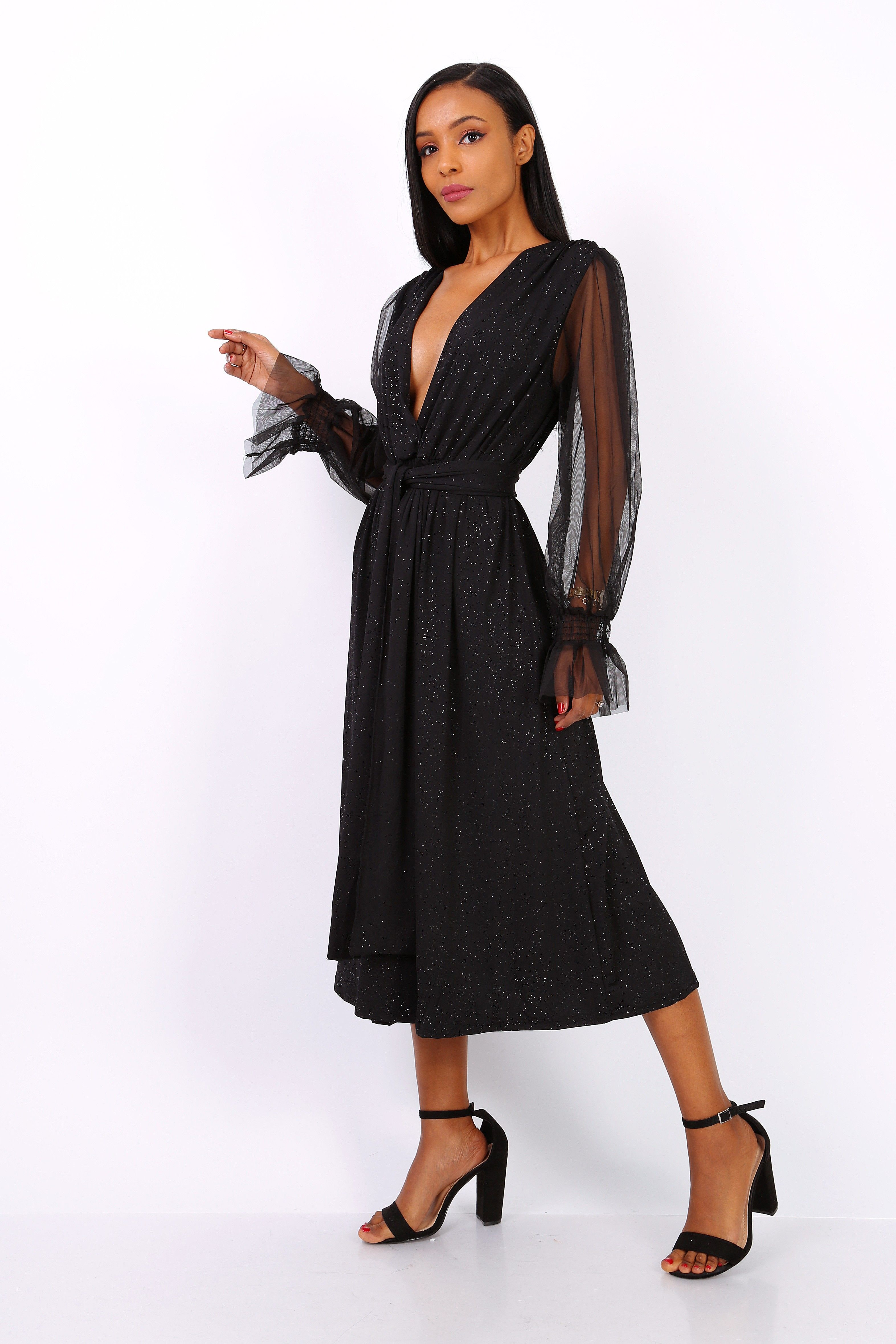 Black Belted Dress with Glitter Fabric & Sheer Sleeves S